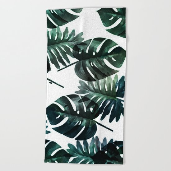 Leafs . Minimal Beach Towel