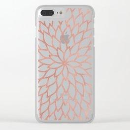 Mandala Flower Rose Gold on White Clear iPhone Case