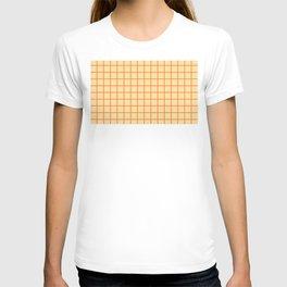 Orange small grid pattern T-shirt