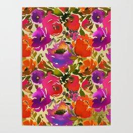 Elegant neon pink lavender orange watercolor floral Poster