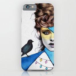 Blue Girl & Black Bird iPhone Case