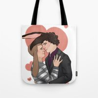 johnlock Tote Bags featuring Bunny loves by Stitchy