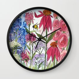 Watercolor Acrylic Cottage Garden Flowers Wall Clock