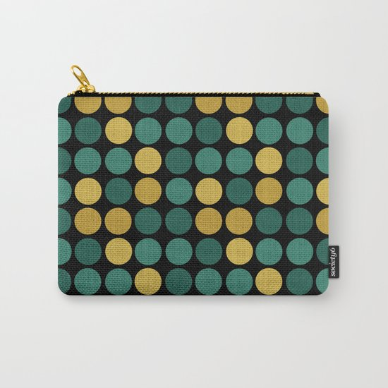 Yellow green polka dots on a black background . Carry-All Pouch
