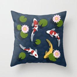 Japanese Koi Fish Pond Throw Pillow