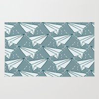 planes Area & Throw Rugs featuring paper planes by blacksparrow