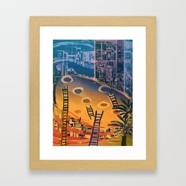 Time through Time, from Caves to Skyscraper, from Organic to Geometric Framed Art Print
