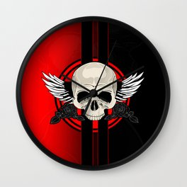 Wing Skull - RED Wall Clock