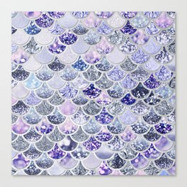 Purple and Ultra Violet Trendy Glitter Mermaid Scales Canvas Print