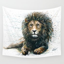 Lion watercolor painting Wall Tapestry