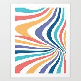 Marble // Retro Rainbow Stripes Art Print