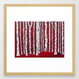 Deep Red Birch Forest Framed Art Print