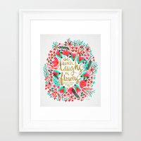 earth Framed Art Prints featuring The Earth Laughs in Flowers – Pink & Gold by Cat Coquillette