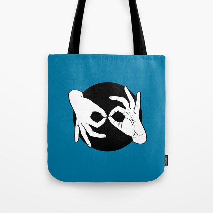 Sign Language (ASL) Interpreter – White on Black 10 Tote Bag