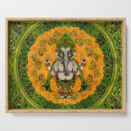 Ganesha in Marigold flowers and gold decoration Serving Tray