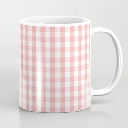 Large Lush Blush Pink and White Gingham Check Coffee Mug