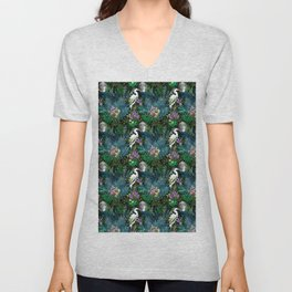 Egret In A Bog Garden Under A Full Moon Unisex V-Neck