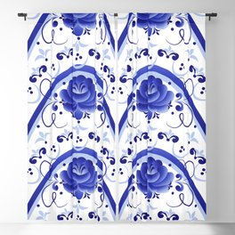 Blue flower arches Blackout Curtain