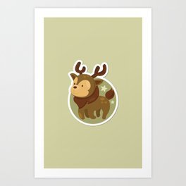 Deer Xmas Icon Art Print