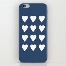 16 Hearts White on Navy iPhone Skin