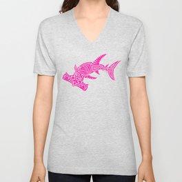 Nancy's Hot Pink Tribal Hammerhead Shark Unisex V-Neck