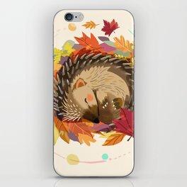 Hedgehog in Autumn Leaves iPhone Skin