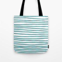 Ocean Green Hand-painted Stripes Tote Bag