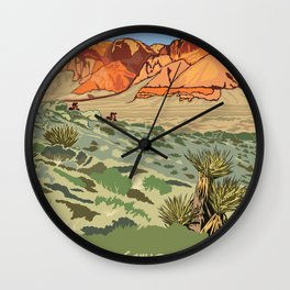 Vintage Poster - Red Rock Canyon National Conservation Area, Nevada (2015) Wall Clock