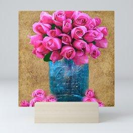 BALL MASON JAR AND ROSES Mini Art Print