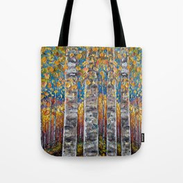 Colourful Autumn Aspen Trees Tote Bag