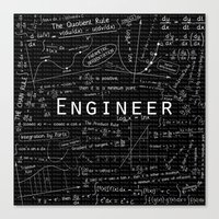 engineer Canvas Prints featuring BLACK - ENGINEER by Be Raza