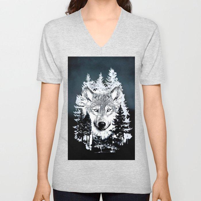 Forest Wolf Art Unisex V-Neck