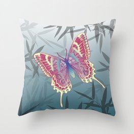 Unique Butterfly Bamboo leaves Pattern Throw Pillow