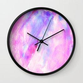 Pastel pink lavender teal watercolor brushstrokes Wall Clock