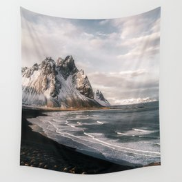 Stokksnes Icelandic Mountain Beach Sunset - Landscape Photography Wall Tapestry