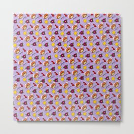 Hammy Pattern in Pale Purple Metal Print