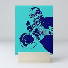 Teal Dreams Of Louis - Louie - Daniel Armstrong Satchmo - Satch - Pops - Pop Sketch-Art Mini Art Print