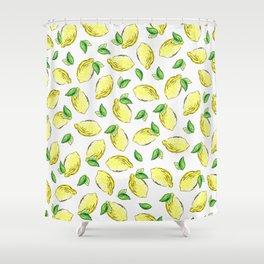 Lemon Watercolor Pattern Shower Curtain