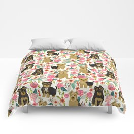 Yorkshire Terrier cute florals must have gifts for dog lover yorkie owners delight secret gifts art Comforters