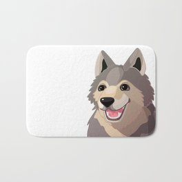 Happy gray wolf. Vector graphic character Bath Mat