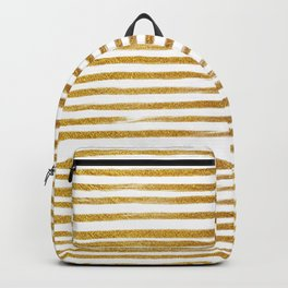 Squiggly Gold Foil Brush Stroke Hand-Painted Lines on White Backpack