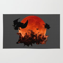 Spooky Halloween Blood Moon Screaming Birds And Spider Rug