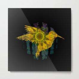 Hummingbird Boho Sunflower Psychedelic Golden Print Metal Print