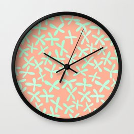 Sweet Life Firefly Peach Coral + Mint Meringue Wall Clock