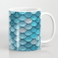 lesbian Mugs featuring light turquoise sparkling scales by Better HOME