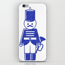 French toy soldier with bugle, drawing with letterpress effect. iPhone Skin