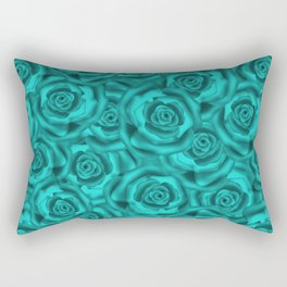 Bright turquoise roses Rectangular Pillow