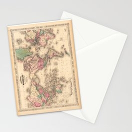 1861 World Map - Johnson's World on Mercators Projection Stationery Cards