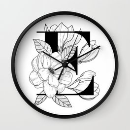 Monogram E with Magnolia Line Art Wall Clock
