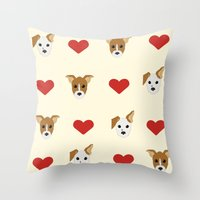 puppies Throw Pillows featuring Puppies by CharlieAmber
